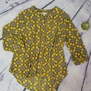 DANA BUCHMAN 3/4 sleeve floral print top XL